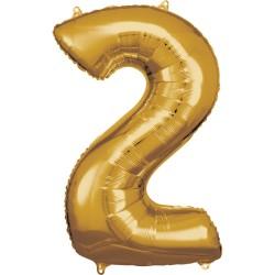 Ballon géant chiffre 2 doré