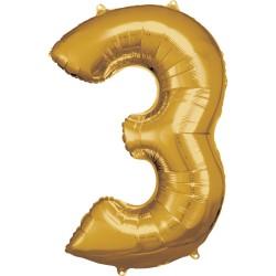 Ballon géant chiffre 3 doré