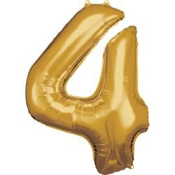 Ballon géant chiffre 4 doré