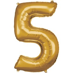 Ballon géant chiffre 5 doré