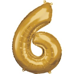 Ballon géant chiffre 6 doré