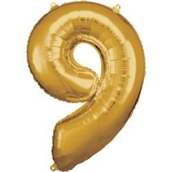 Ballon chiffre géant 9 doré