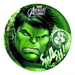8 assiettes jetables Hulk 20 cm
