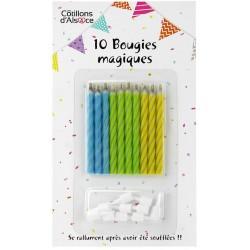 10 bougies magiques avec supports